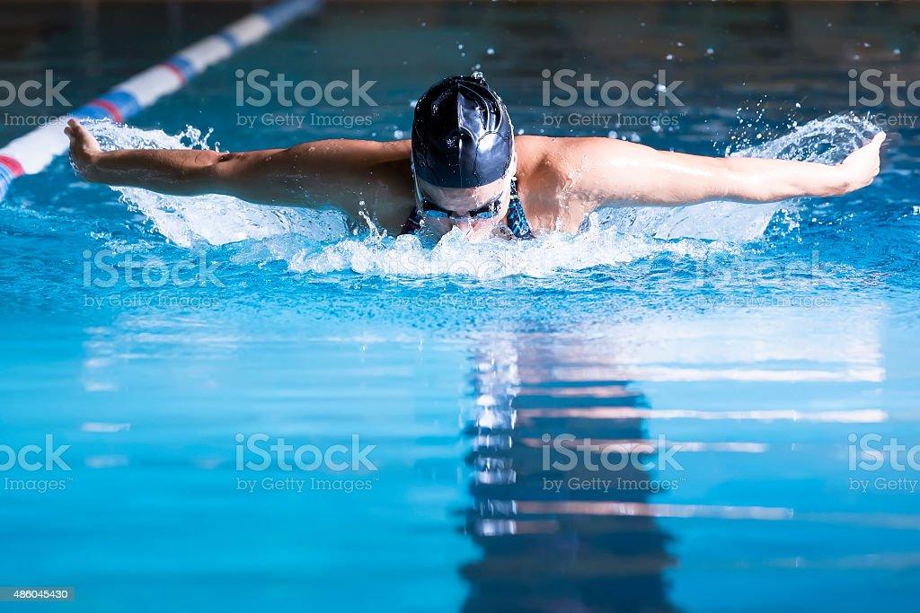 Frau Schwimmen Delfinschwimmen – Foto