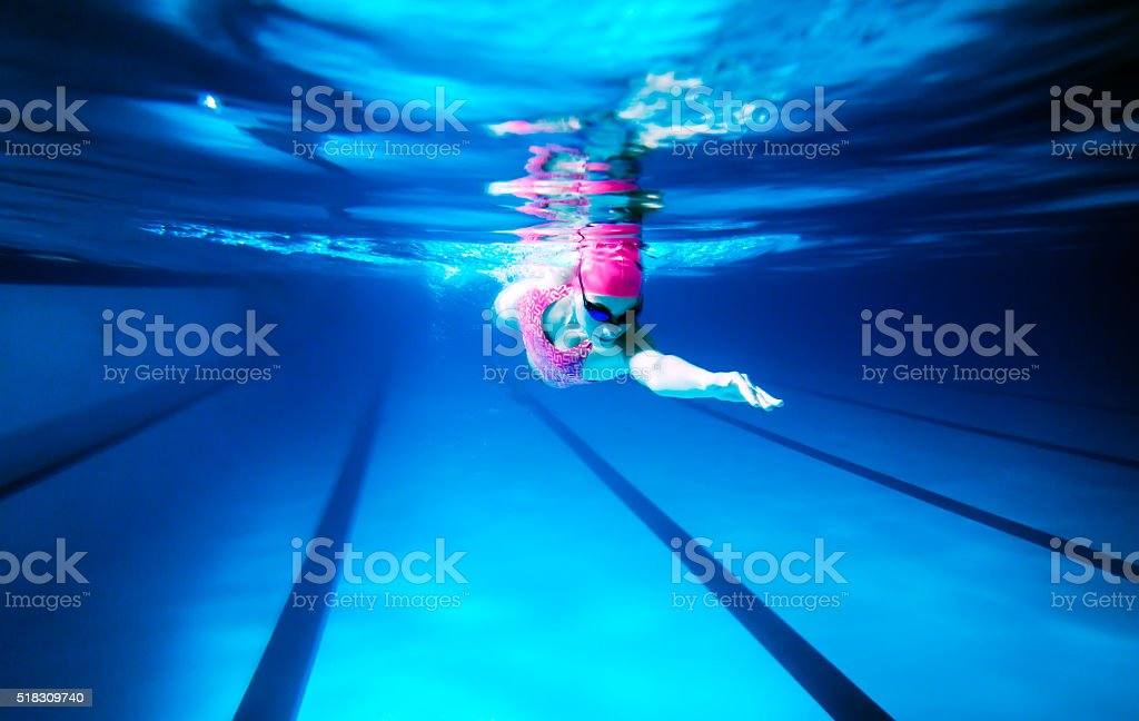 Woman Swimming Freestyle stock photo