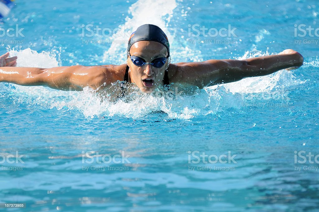 Woman swimming royalty-free stock photo