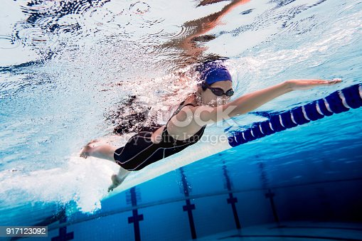 istock Woman swimming pool.Underwater photo 917123092