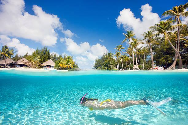 Woman swimming underwater stock photo