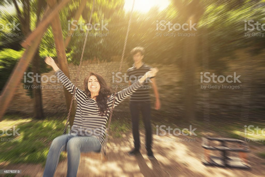 woman swinging royalty-free stock photo