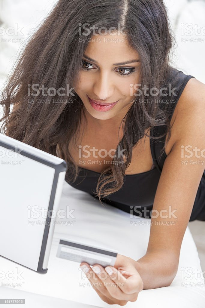 Woman Tablet Computer Credit Card On Line Shopping royalty-free stock photo