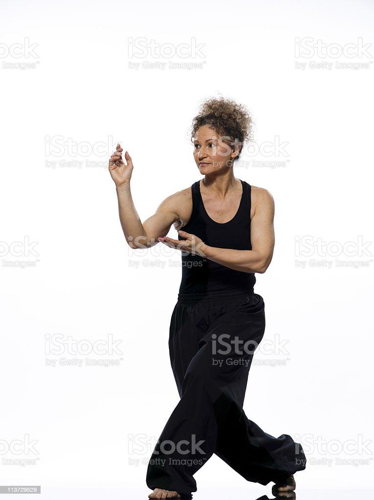 woman tai chi chuan tadjiquan posture pose position stock photo