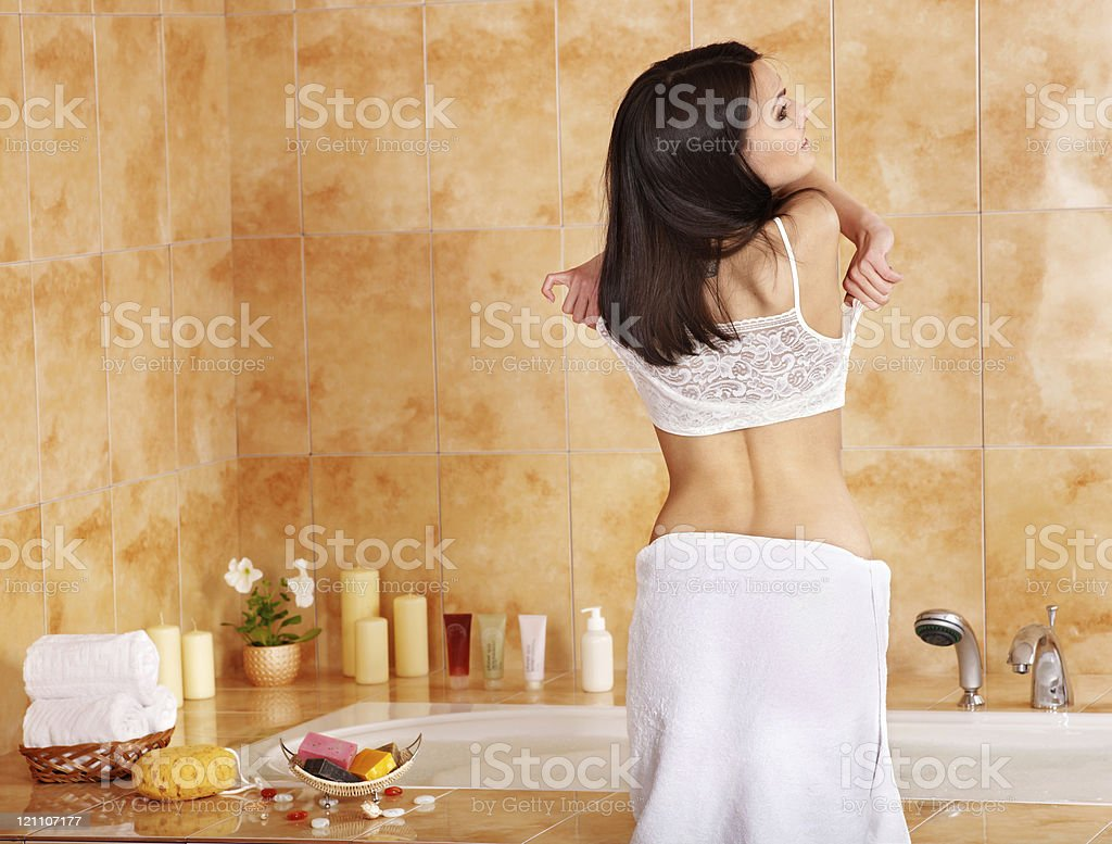 Woman take bubble  bath. royalty-free stock photo