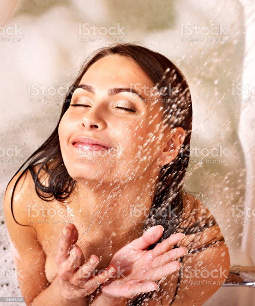 Woman take bubble  bath stock photo