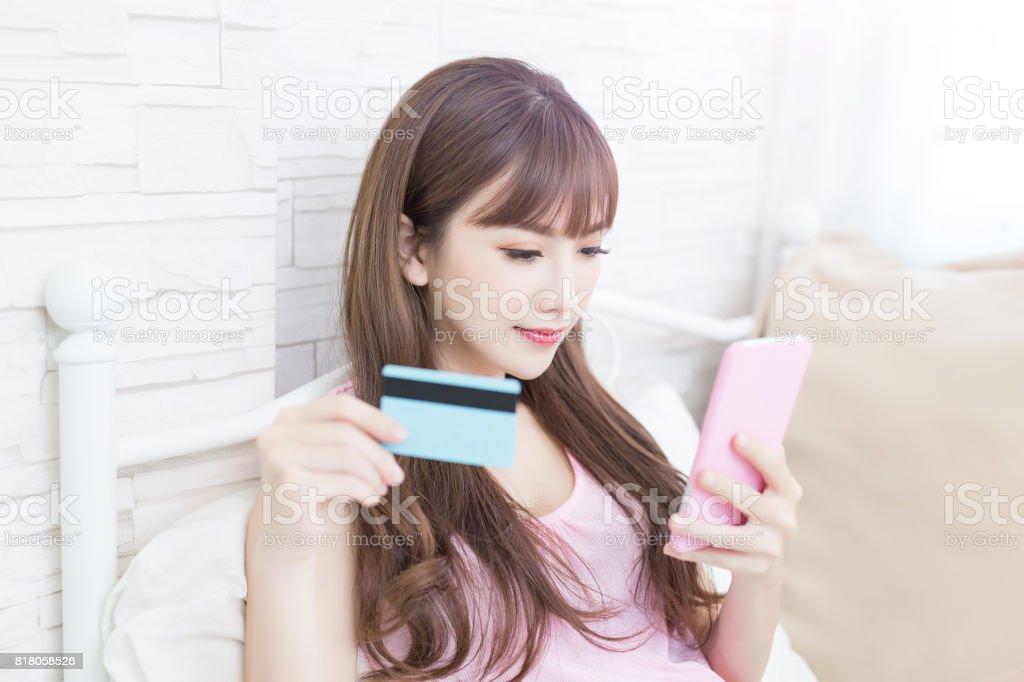woman take credit card stock photo