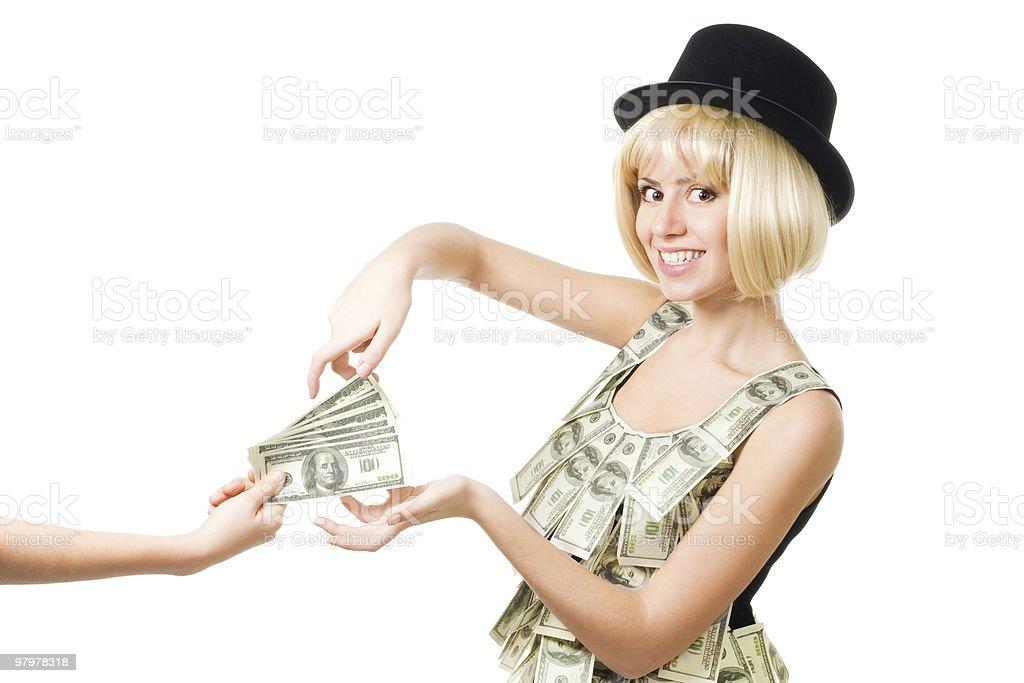 Woman take money royalty-free stock photo