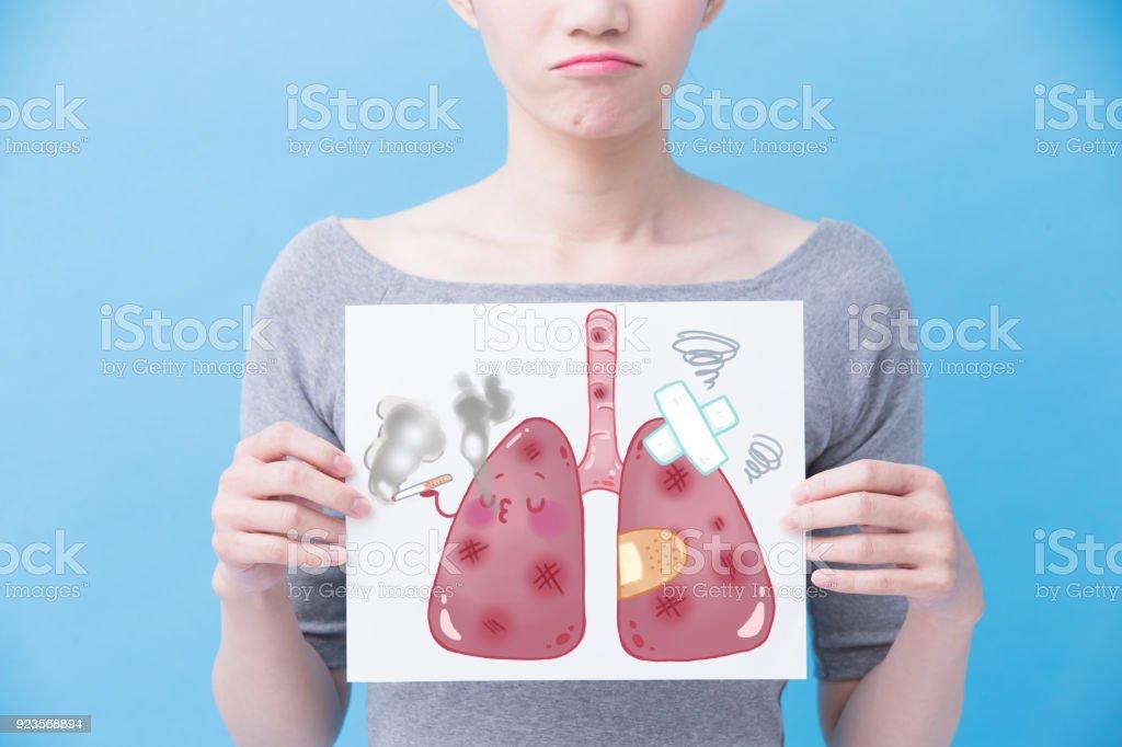 woman take unhealth lung billboard stock photo