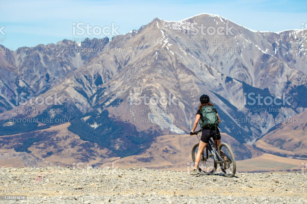 Mt Cheeseman, Canterbury, New Zealand, March 2 2019: A woman arrives...