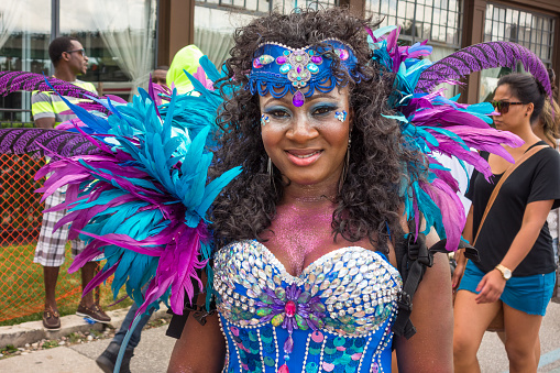 Woman Takes Part In The Caribana Festival In Toronto Canada Stock