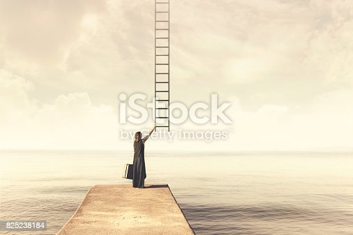 istock Woman takes up imaginary ladder from the sky to a disenchanted destination 825238184