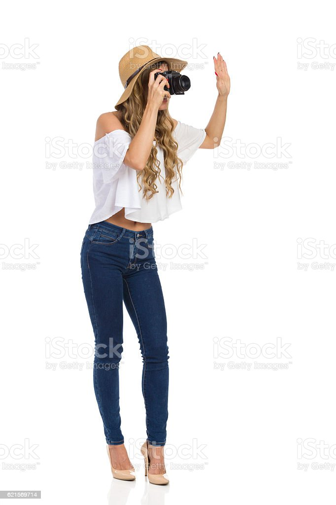 Woman Taking A Photo Full Length Isolated Lizenzfreies stock-foto