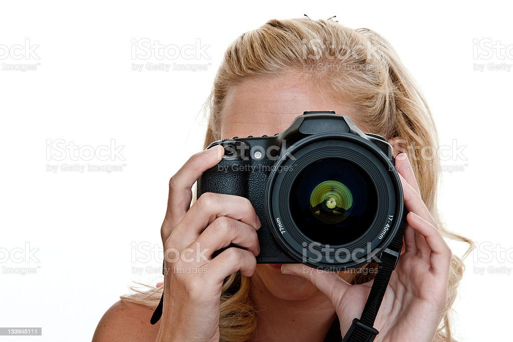 Woman taking a picture royalty-free stock photo