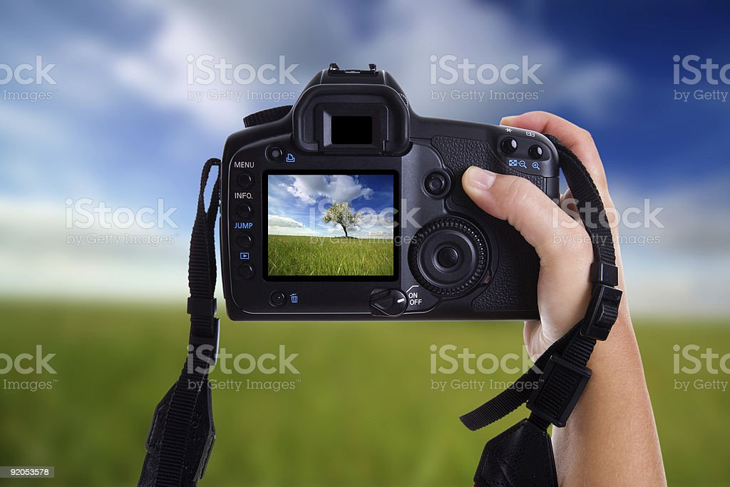 woman taking landscape photography with digital photo camera royalty-free stock photo