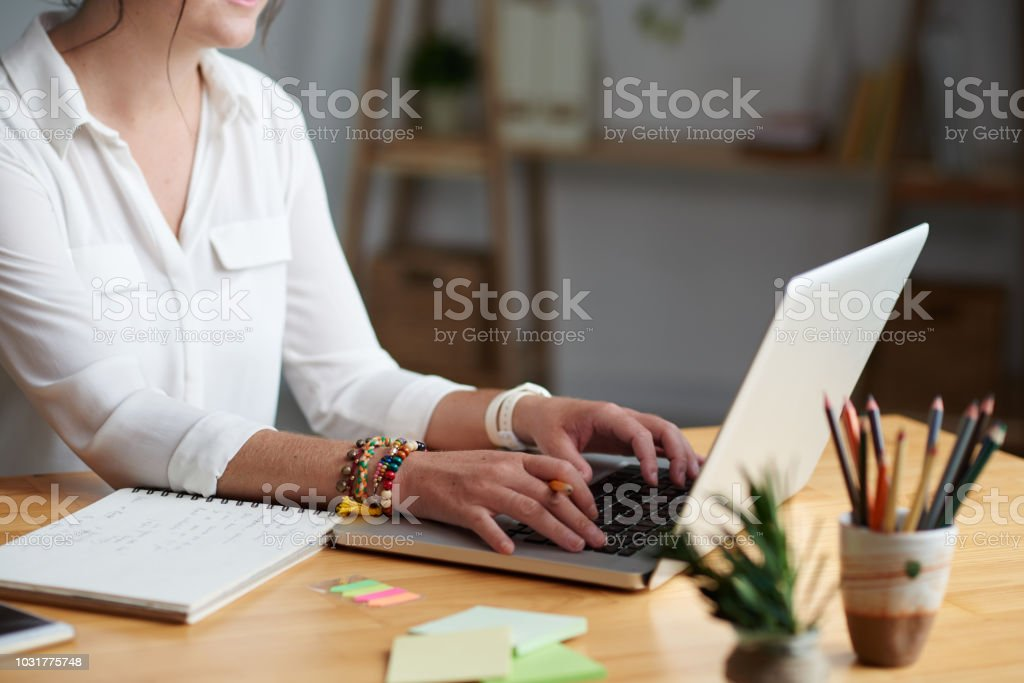 woman taking online class stock photo
