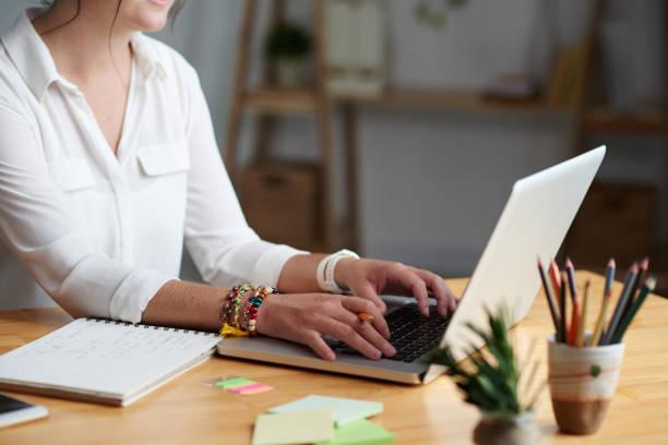 woman taking online class stock photo