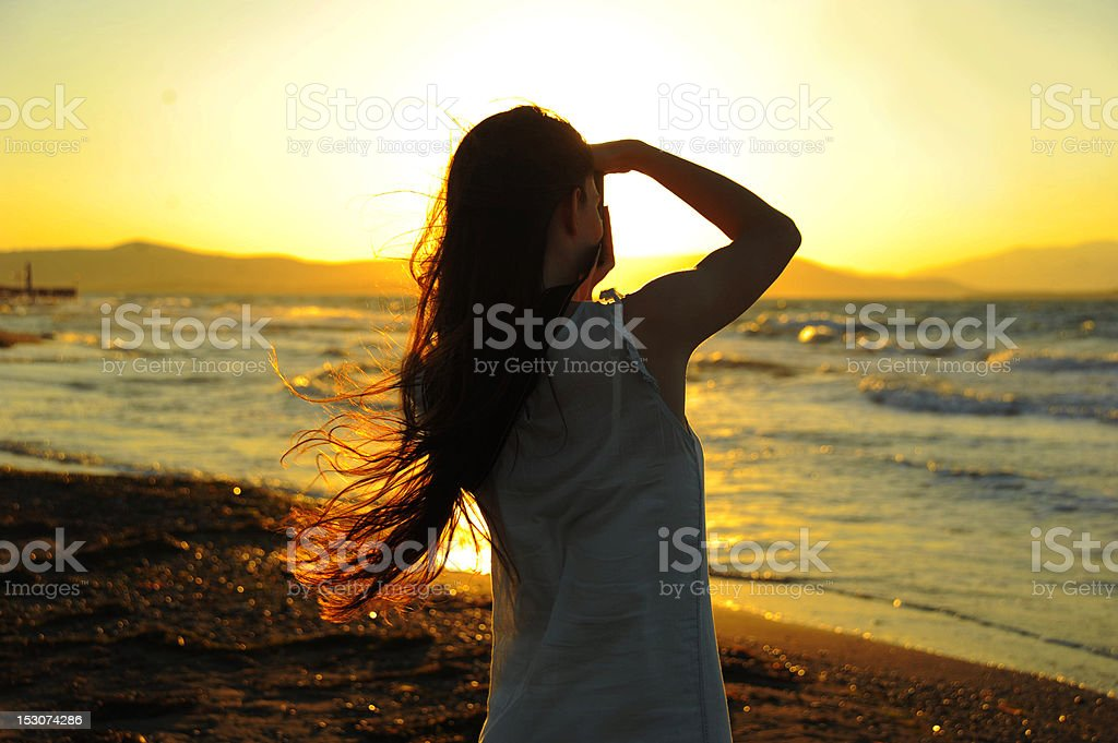 woman taking photographs stock photo