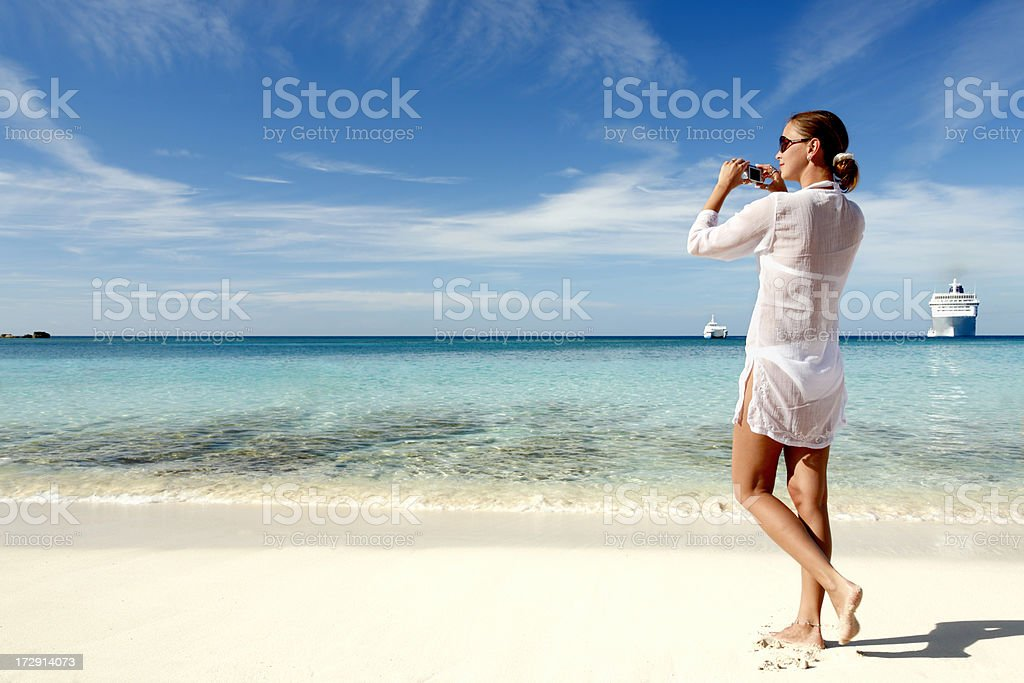 woman taking picture stock photo