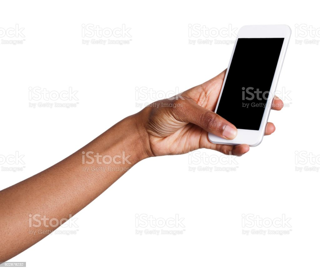 Woman taking picture using smartphone stock photo