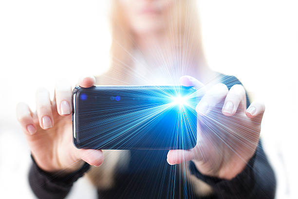 woman taking pictures - photo messaging stock photos and pictures