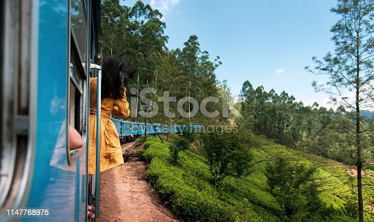 Woman taking the train ride through Sri Lanka tea plantations