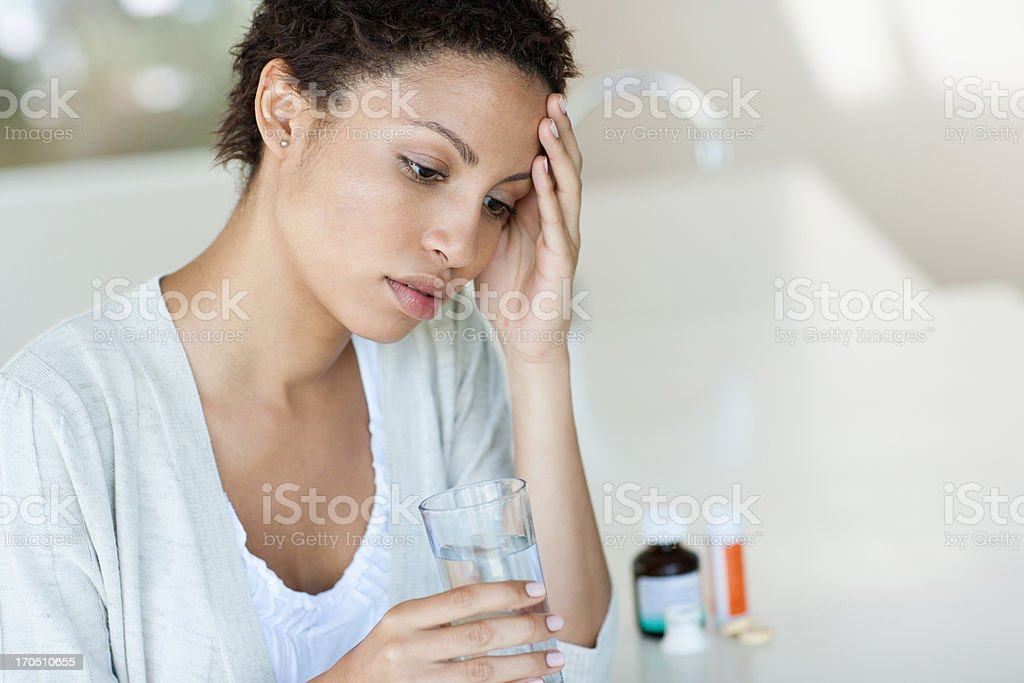Woman taking water royalty-free stock photo