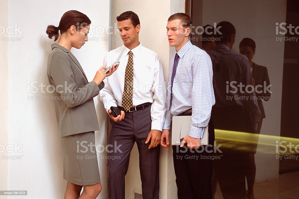 Woman talking about personal organizer royalty-free stock photo