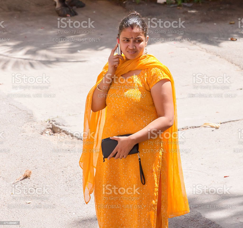 Woman talking on mobile phone royalty-free stock photo