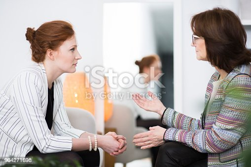 Elder woman talking to her patient during her life crisis