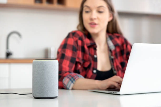 Woman talking to smart speaker. Smart home. stock photo