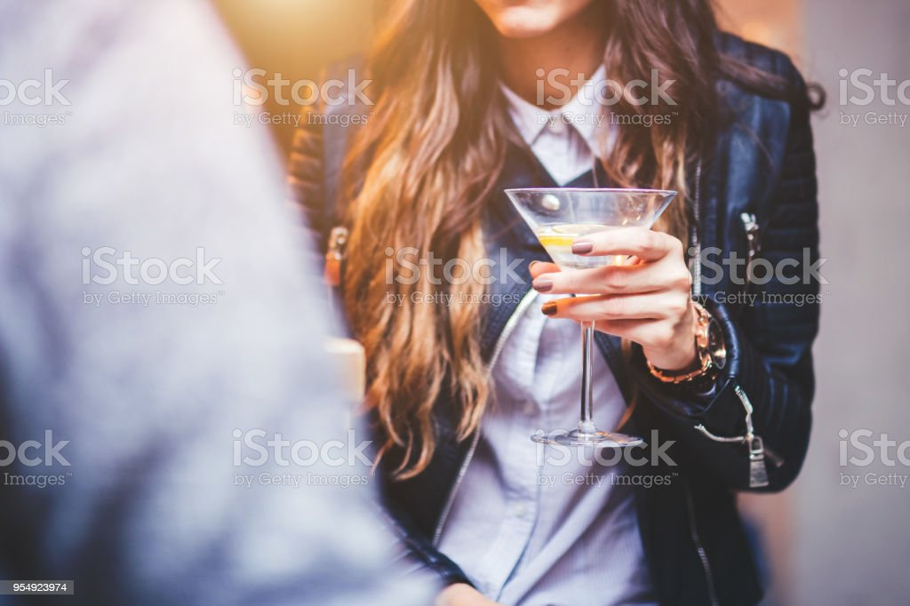 Woman talking with a man stock photo