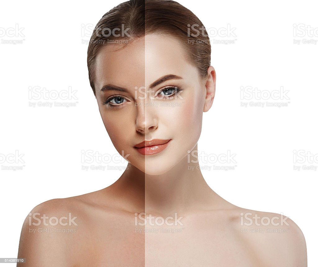 woman tan half face beautiful portrait spray stock photo