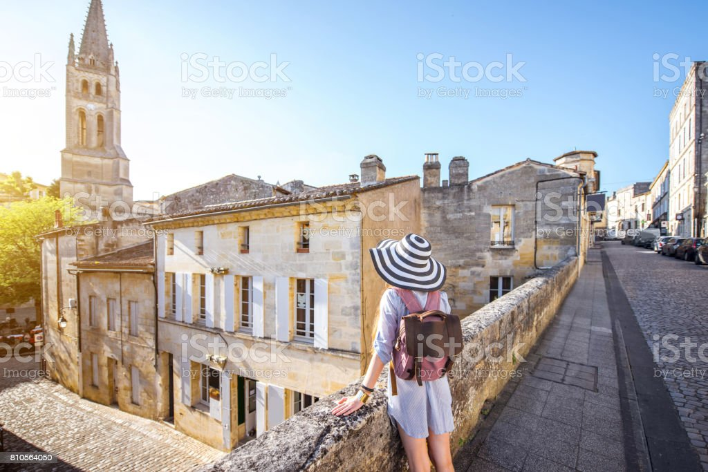 Woman tarveling in Saint Emilion village, France stock photo