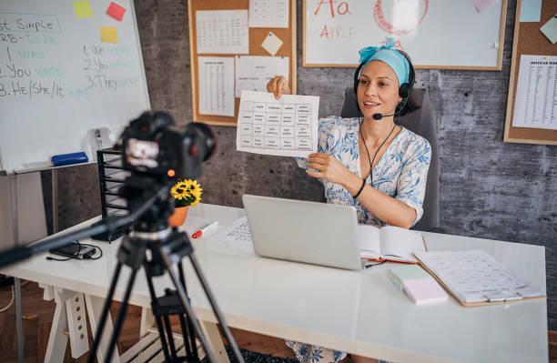 Woman teacher holding online class during coronavirus pandemic period