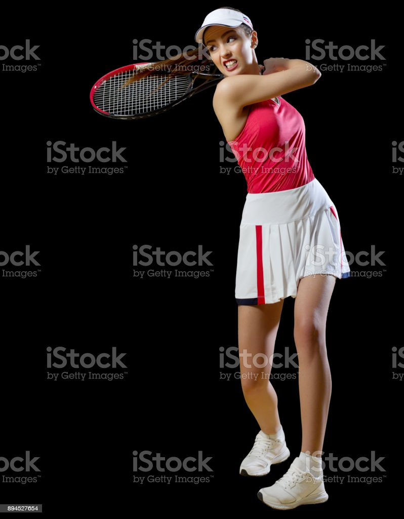 Woman tennis player isolated (without ball ver) stock photo