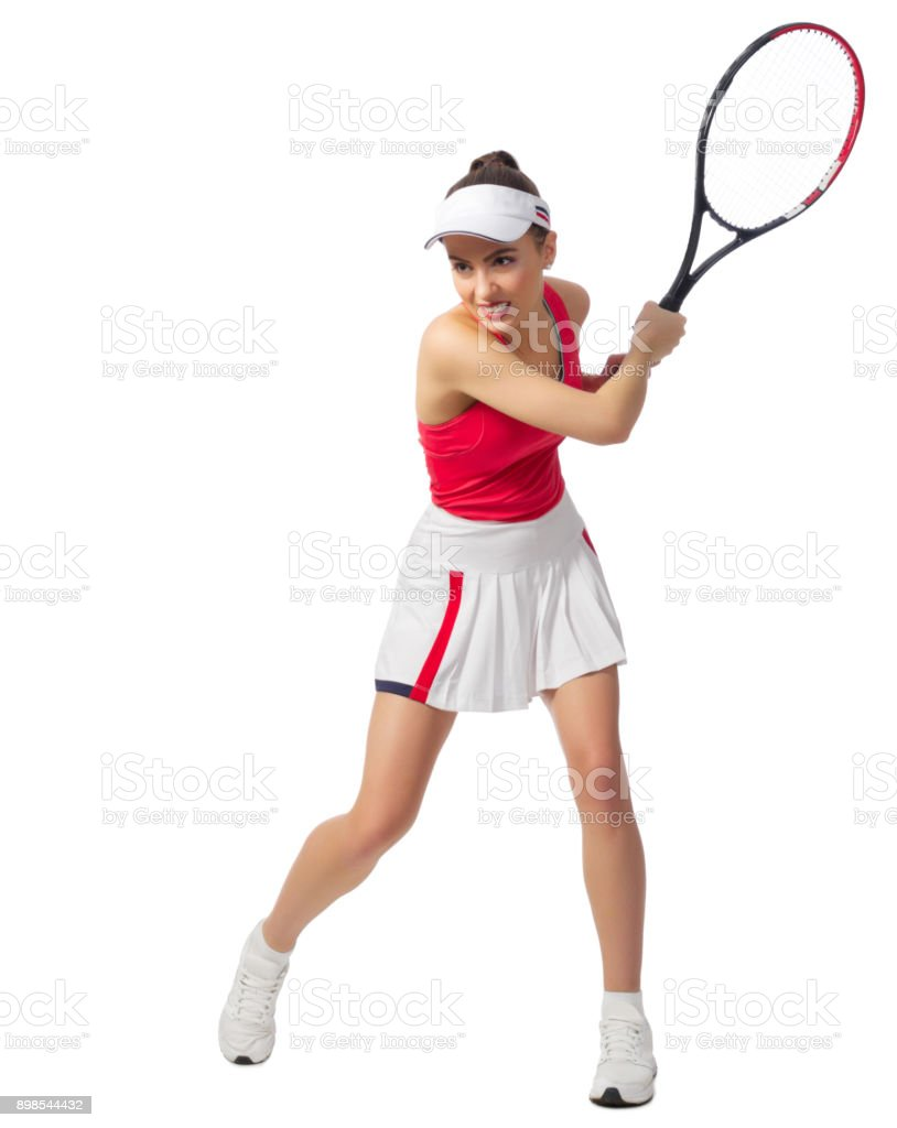 Woman tennis player isolated (without ball version) stock photo
