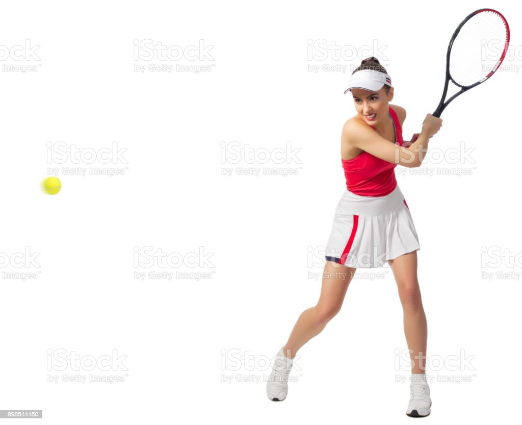 Woman tennis player isolated (with ball version) stock photo