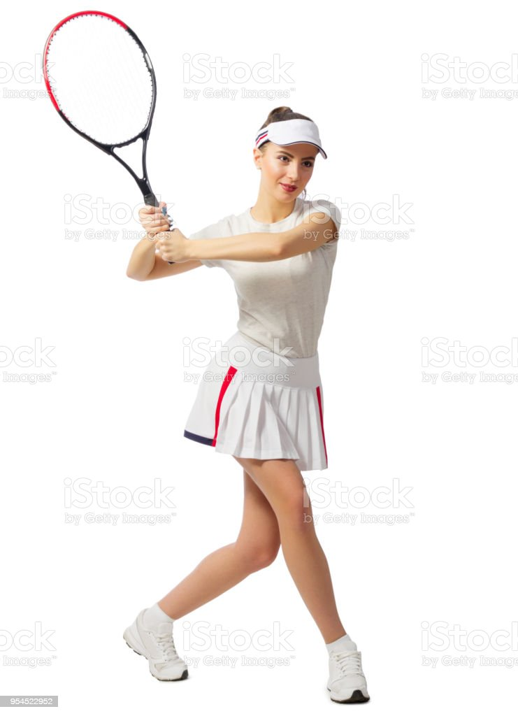 Woman tennis player (with ball version) stock photo