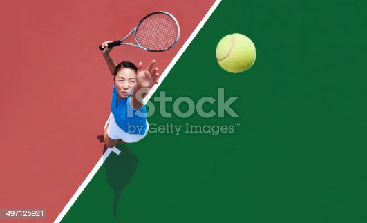 istock woman tennis player serving 497125921