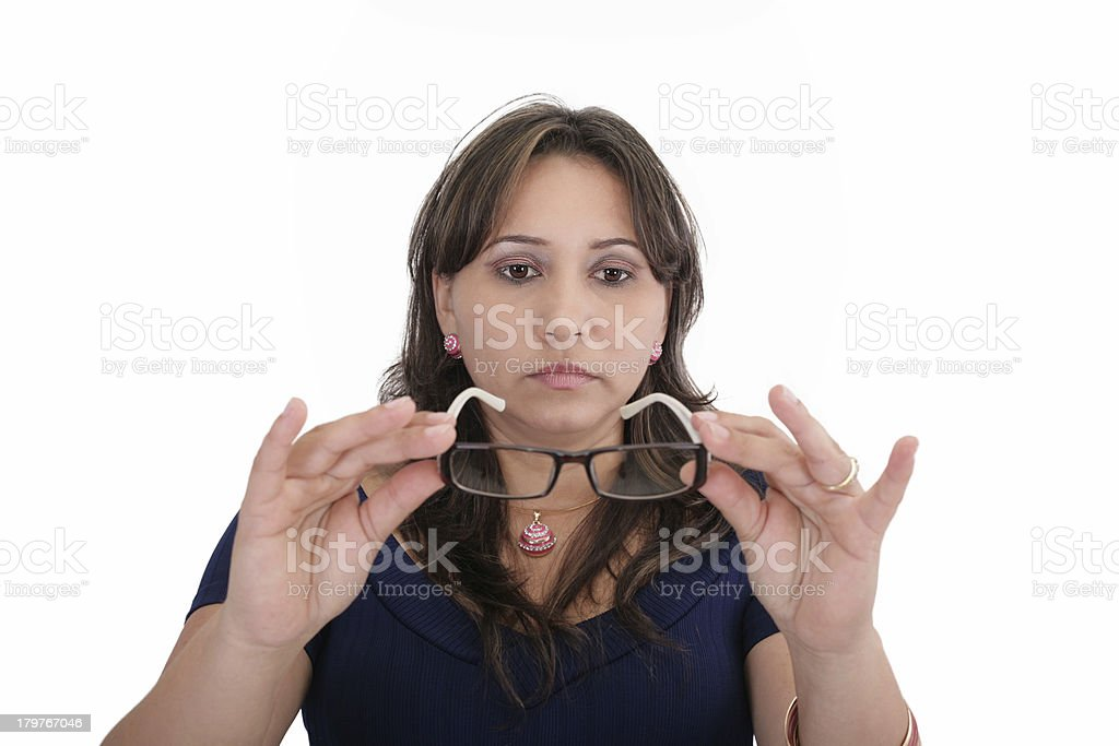 Woman testing her new lenses royalty-free stock photo