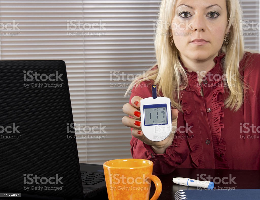 Woman Tests Blood Sugar royalty-free stock photo