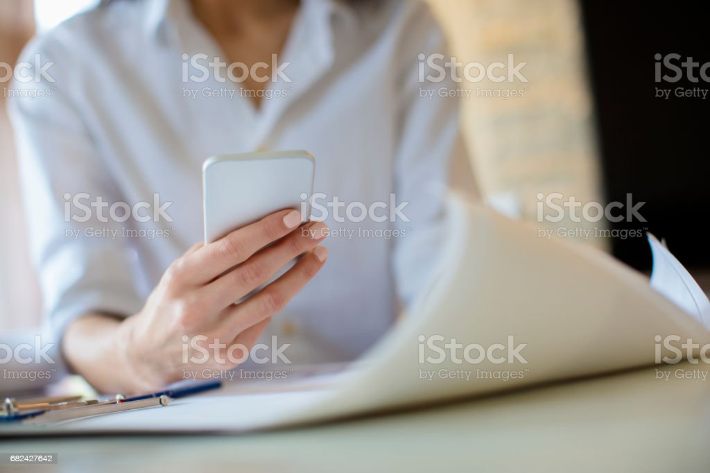 Woman texting message close up royalty-free stock photo