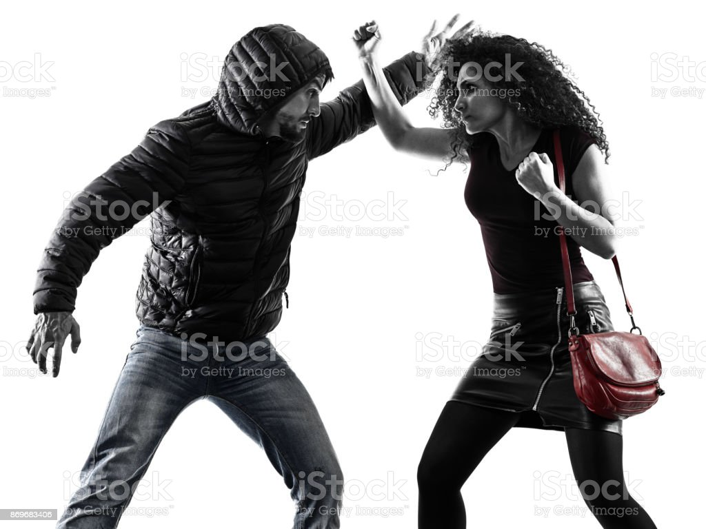 woman thief aggression self defense isolated stock photo