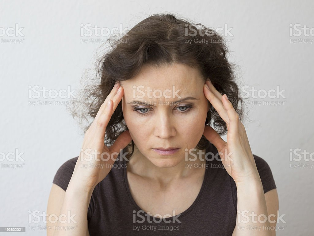 Woman Thinking About Seriously Or With Headache Stock Photo Download Image Now Istock