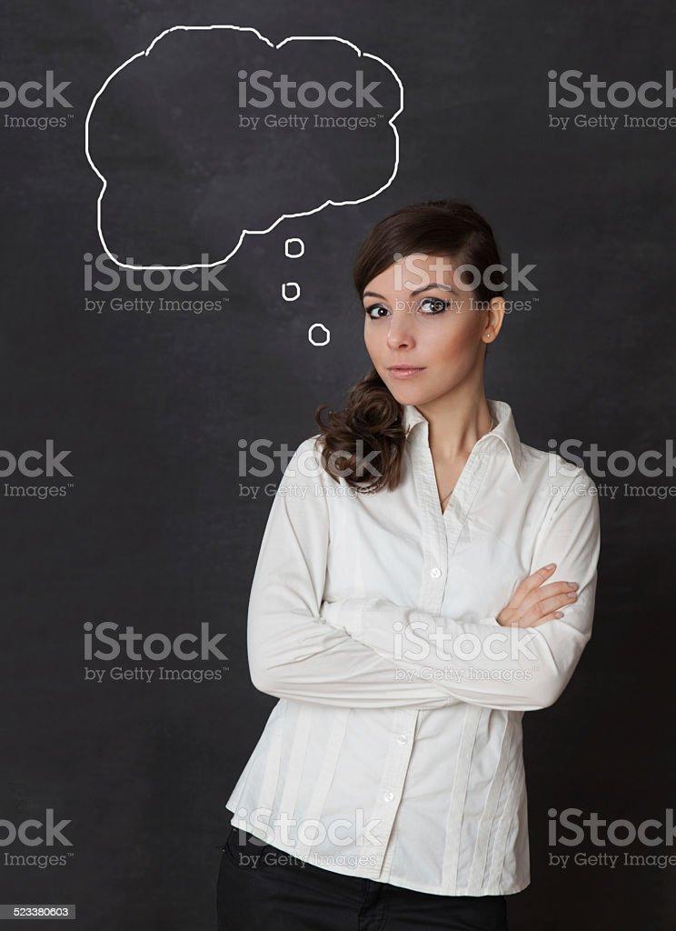 Frau denken Schreibtafel – Foto