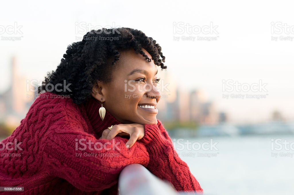 Woman thinking outdoor stock photo