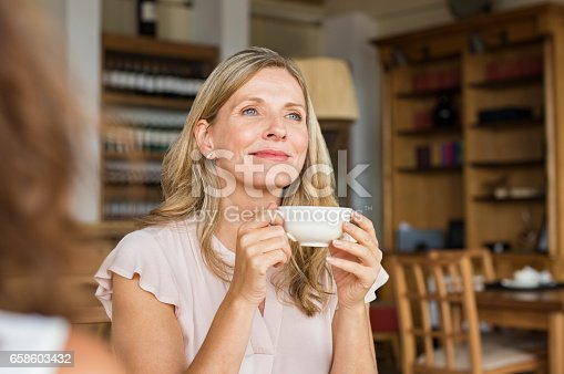 istock Woman thinking over coffee 658603432