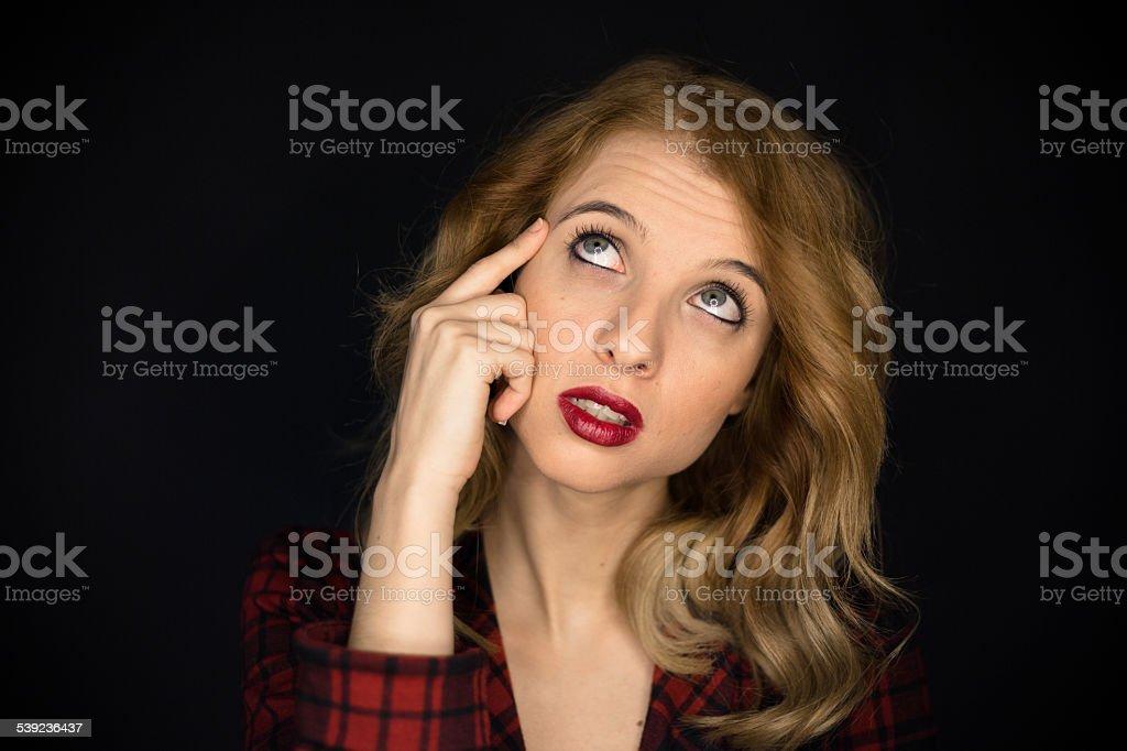 Mujer pensando foto de stock libre de derechos