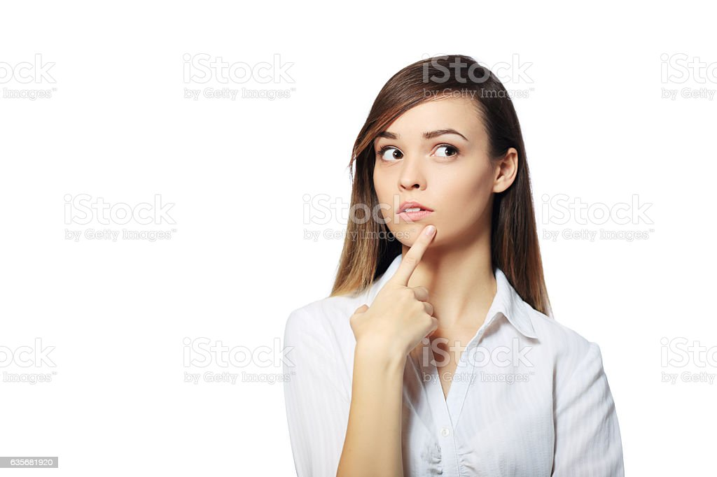 woman thinking stock photo